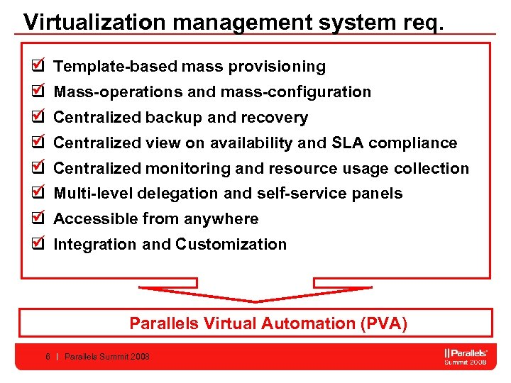 Virtualization management system req. q Template-based mass provisioning q Mass-operations and mass-configuration q Centralized