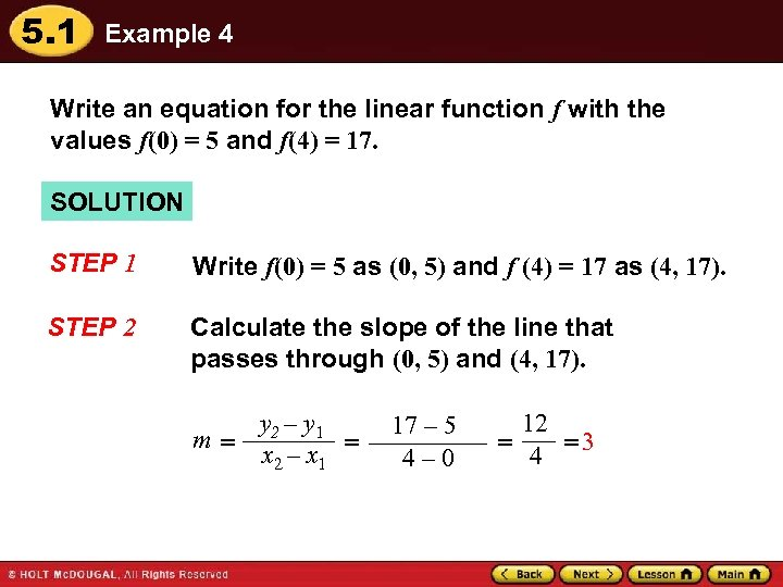 5. 1 Example 4 Write an equation for the linear function f with the