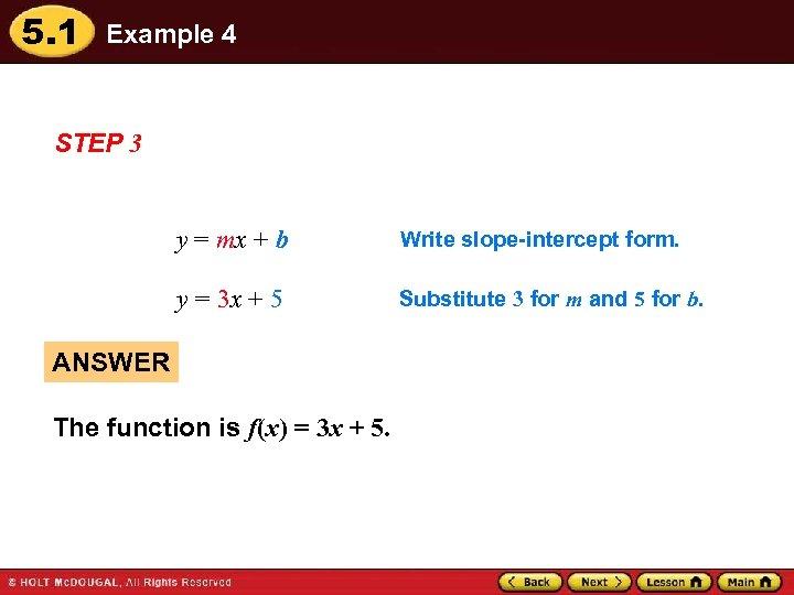 5. 1 Example 4 STEP 3 y = mx + b Write slope-intercept form.