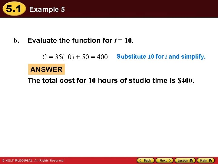 5. 1 b. Example 5 Evaluate the function for t = 10. C =