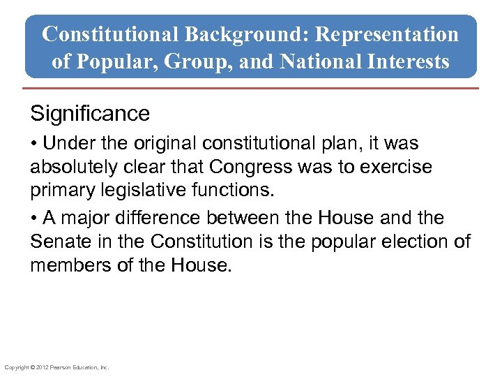 Constitutional Background: Representation of Popular, Group, and National Interests Significance • Under the original