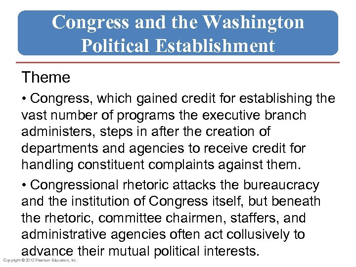 Congress and the Washington Political Establishment Theme • Congress, which gained credit for establishing