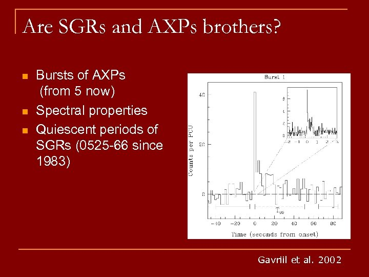 Are SGRs and AXPs brothers? n n n Bursts of AXPs (from 5 now)