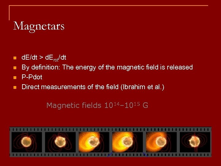 Magnetars n n d. E/dt > d. Erot/dt By definition: The energy of the