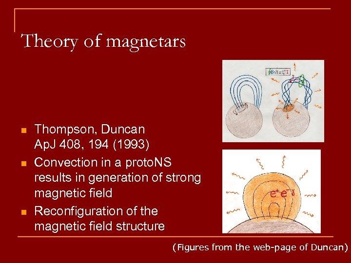 Theory of magnetars n n n Thompson, Duncan Ap. J 408, 194 (1993) Convection