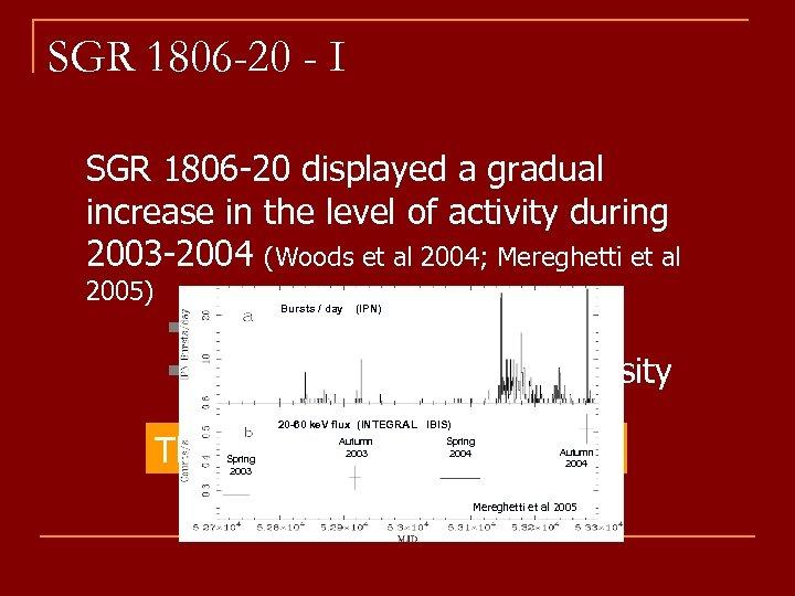 SGR 1806 -20 - I SGR 1806 -20 displayed a gradual increase in the