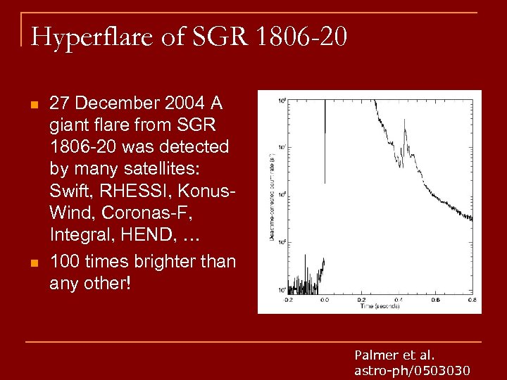 Hyperflare of SGR 1806 -20 n n 27 December 2004 A giant flare from