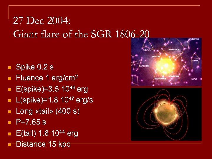 27 Dec 2004: Giant flare of the SGR 1806 -20 n n n n