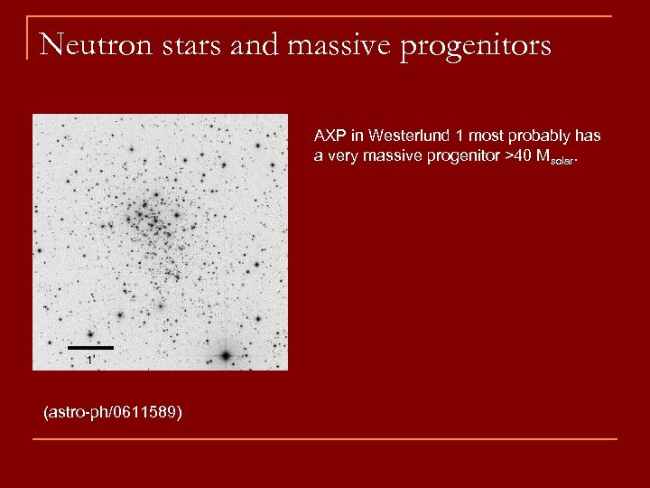 Neutron stars and massive progenitors AXP in Westerlund 1 most probably has a very
