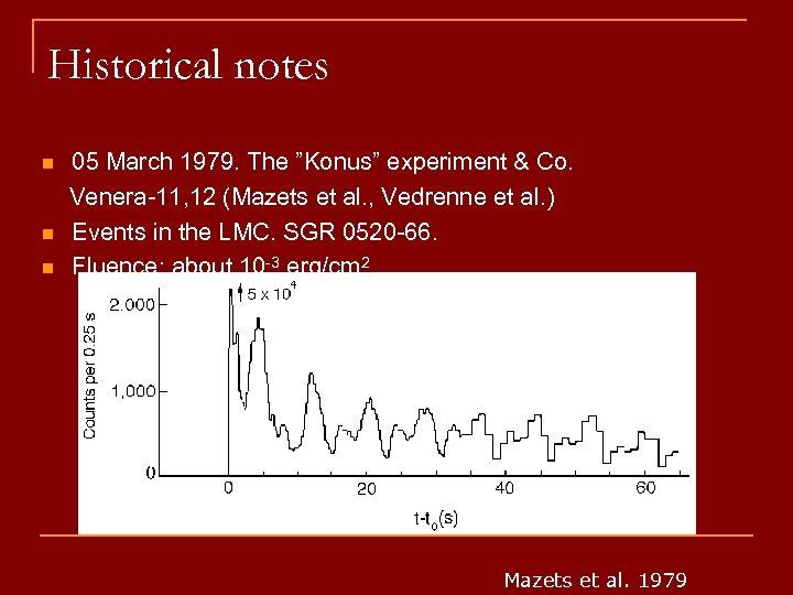 "Historical notes n n n 05 March 1979. The ""Konus"" experiment & Co. Venera-11,"