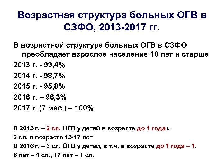 Возрастная структура больных ОГВ в СЗФО, 2013 -2017 гг. В возрастной структуре больных ОГВ