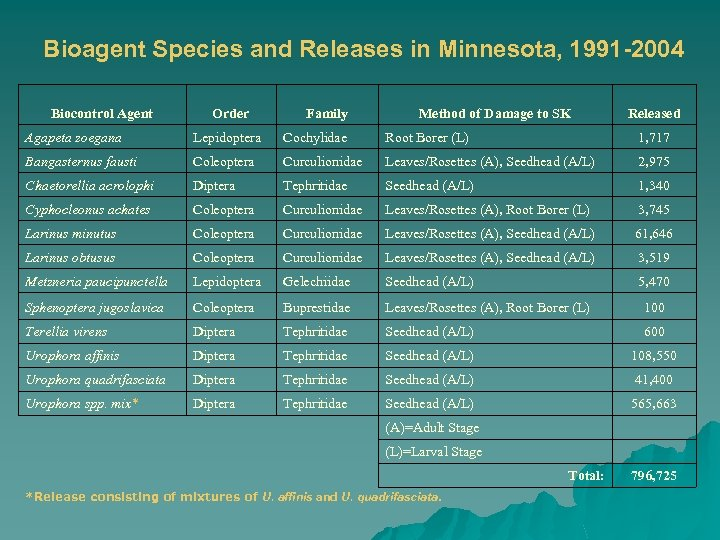 Bioagent Species and Releases in Minnesota, 1991 -2004 Biocontrol Agent Order Family Method of