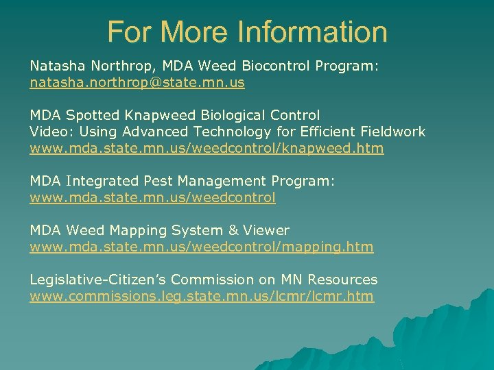 For More Information Natasha Northrop, MDA Weed Biocontrol Program: natasha. northrop@state. mn. us MDA