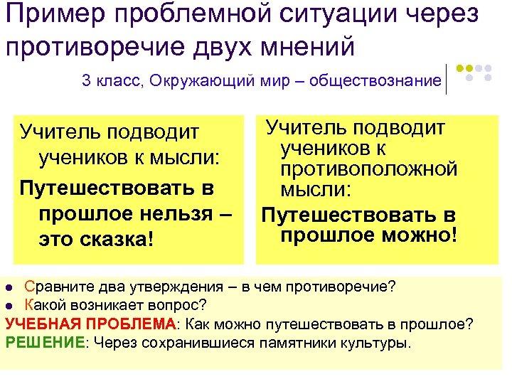 Пример проблемной ситуации через противоречие двух мнений 3 класс, Окружающий мир – обществознание Учитель