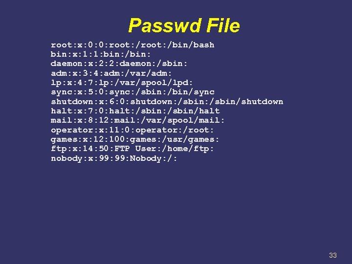 Passwd File root: x: 0: 0: root: /bin/bash bin: x: 1: 1: bin: /bin: