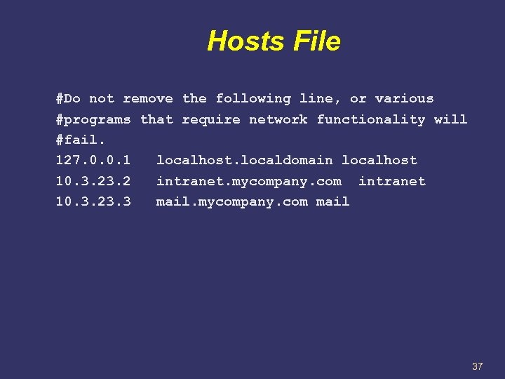 Hosts File #Do not remove the following line, or various #programs that require network
