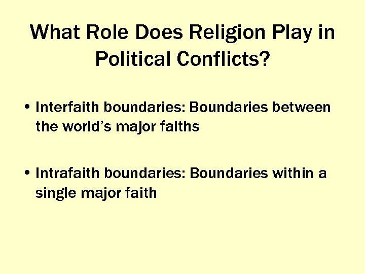 What Role Does Religion Play in Political Conflicts? • Interfaith boundaries: Boundaries between the