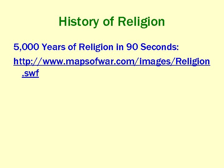 History of Religion 5, 000 Years of Religion in 90 Seconds: http: //www. mapsofwar.