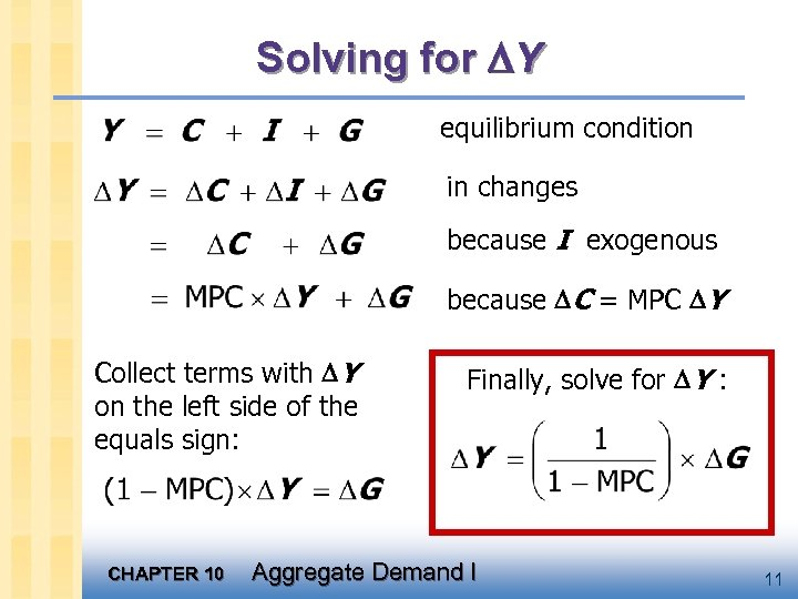 Solving for Y equilibrium condition in changes because I exogenous because C = MPC