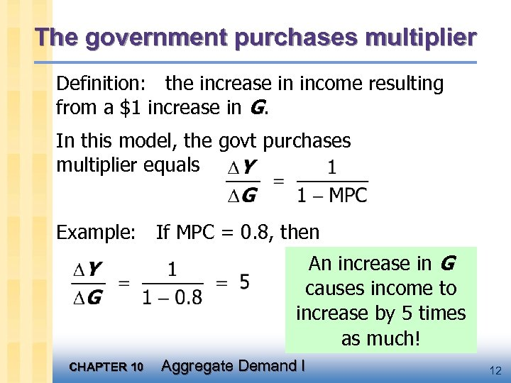 The government purchases multiplier Definition: the increase in income resulting from a $1 increase