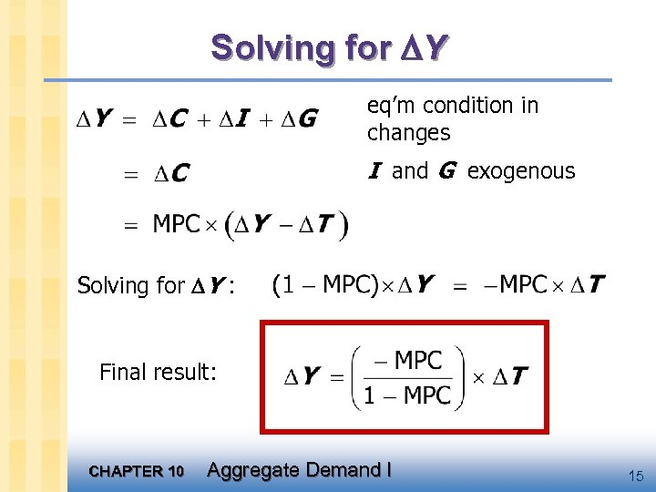 Solving for Y eq'm condition in changes I and G exogenous Solving for Y