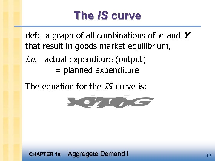The IS curve def: a graph of all combinations of r and Y that