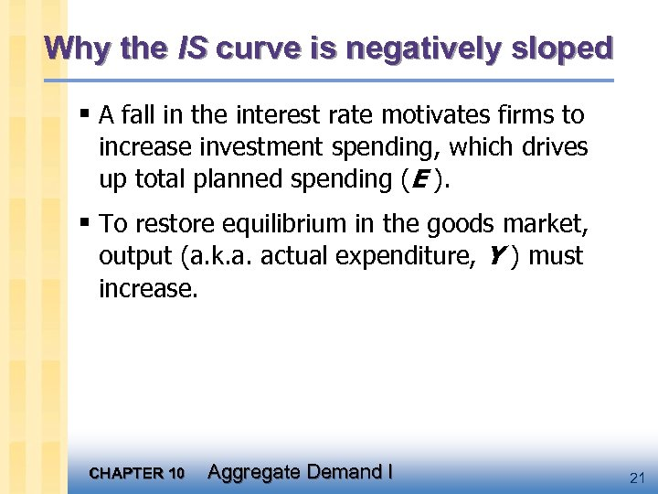 Why the IS curve is negatively sloped § A fall in the interest rate