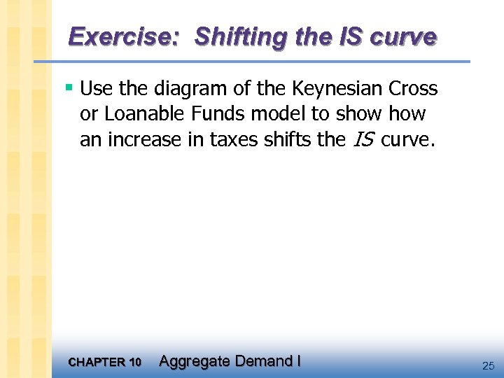 Exercise: Shifting the IS curve § Use the diagram of the Keynesian Cross or