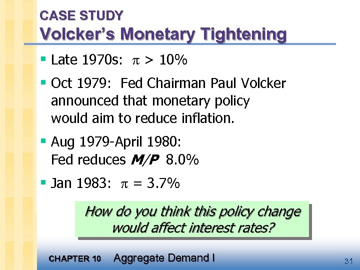 CASE STUDY Volcker's Monetary Tightening § Late 1970 s: > 10% § Oct 1979: