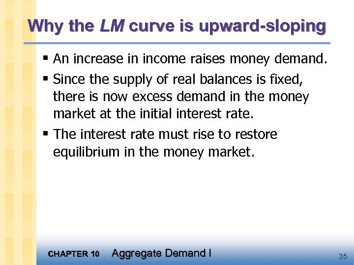 Why the LM curve is upward-sloping § An increase in income raises money demand.