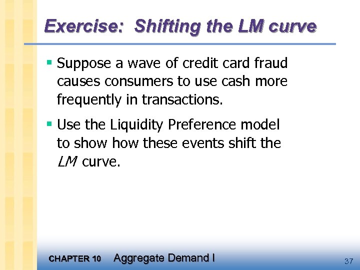 Exercise: Shifting the LM curve § Suppose a wave of credit card fraud causes