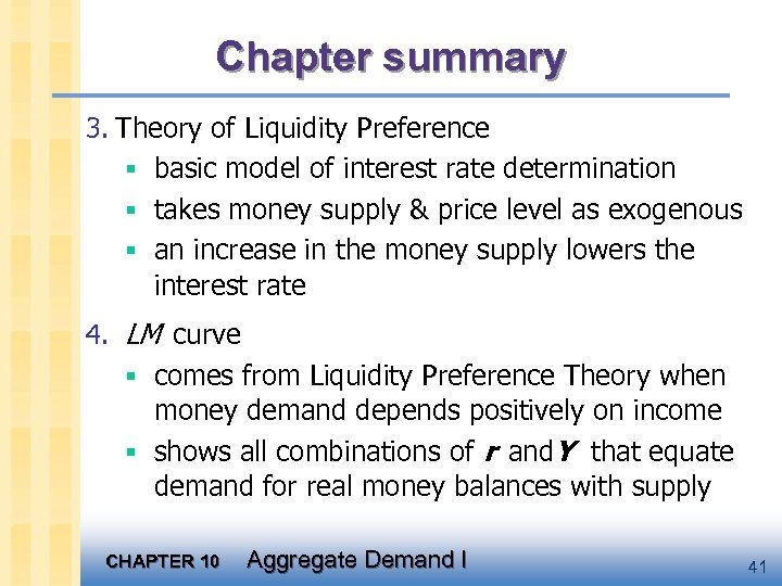 Chapter summary 3. Theory of Liquidity Preference § basic model of interest rate determination