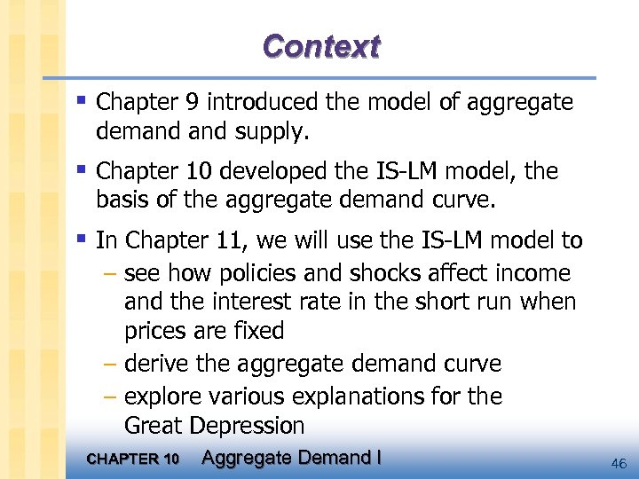 Context § Chapter 9 introduced the model of aggregate demand supply. § Chapter 10