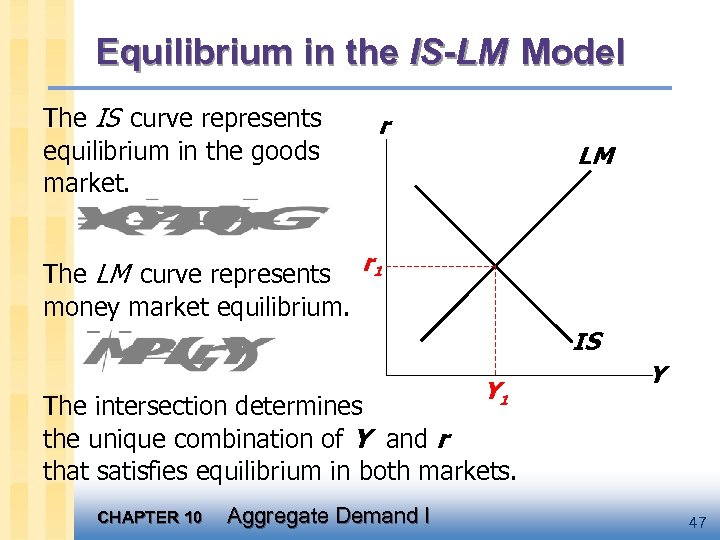 Equilibrium in the IS-LM Model The IS curve represents equilibrium in the goods market.
