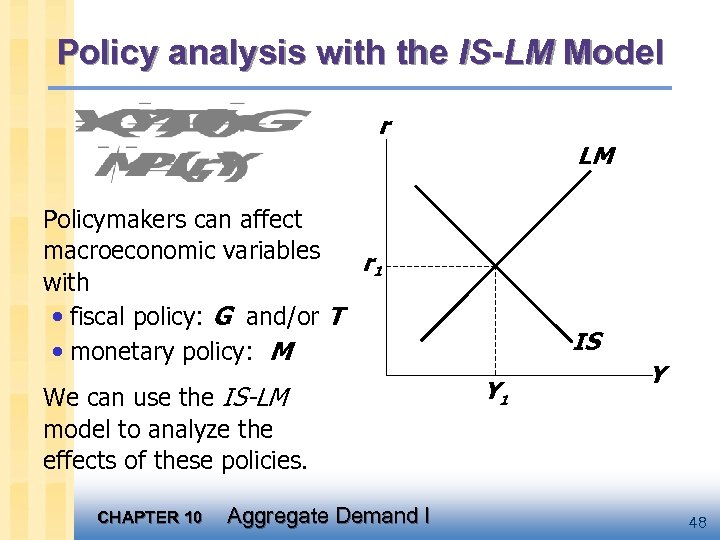 Policy analysis with the IS-LM Model r LM Policymakers can affect macroeconomic variables r