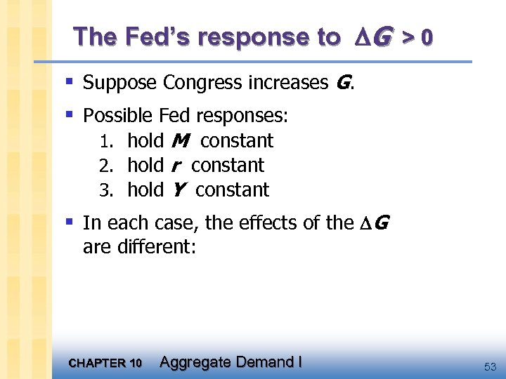 The Fed's response to G > 0 § Suppose Congress increases G. § Possible