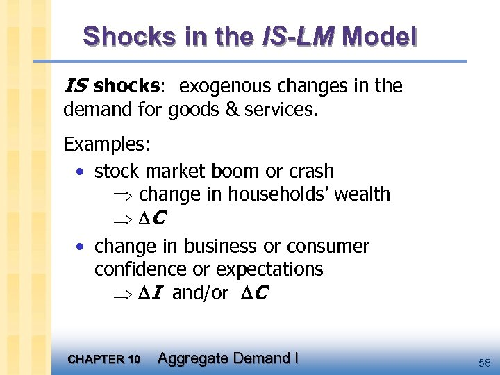 Shocks in the IS-LM Model IS shocks: exogenous changes in the demand for goods