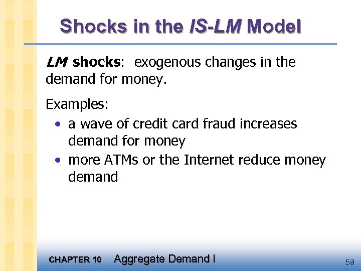 Shocks in the IS-LM Model LM shocks: exogenous changes in the demand for money.
