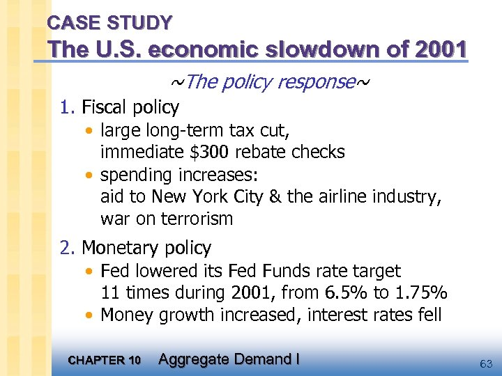 CASE STUDY The U. S. economic slowdown of 2001 ~The policy response~ 1. Fiscal