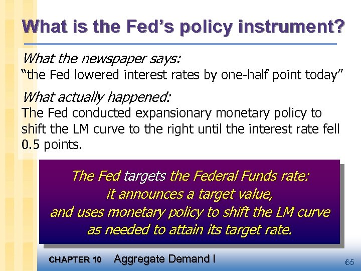 "What is the Fed's policy instrument? What the newspaper says: ""the Fed lowered interest"