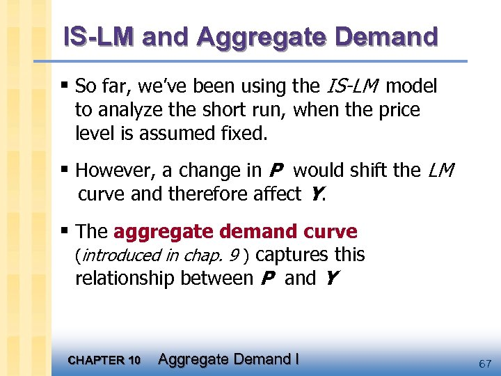 IS-LM and Aggregate Demand § So far, we've been using the IS-LM model to