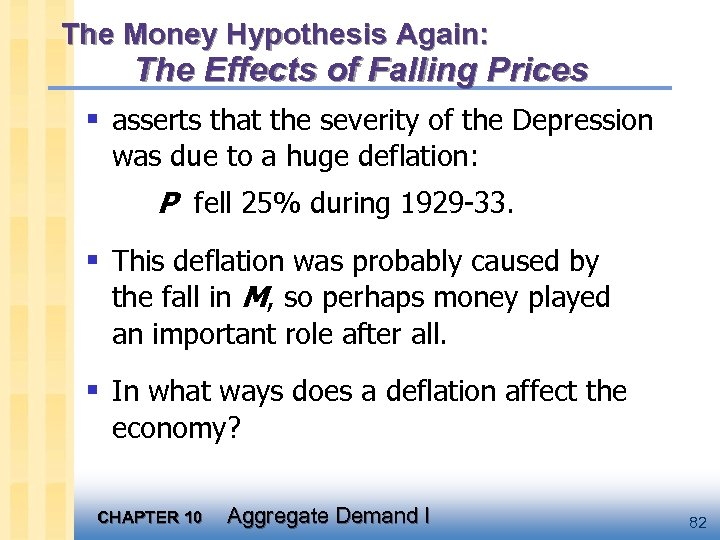 The Money Hypothesis Again: The Effects of Falling Prices § asserts that the severity