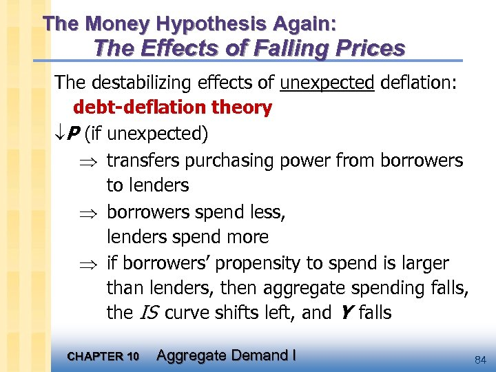 The Money Hypothesis Again: The Effects of Falling Prices The destabilizing effects of unexpected
