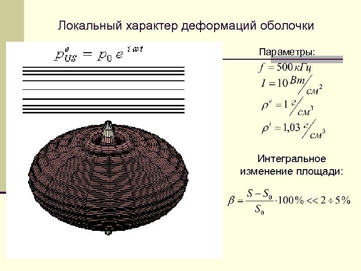 Локальный характер деформаций оболочки Параметры: Интегральное изменение площади: