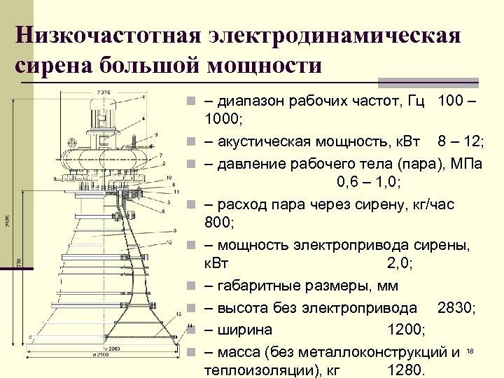 Низкочастотная электродинамическая сирена большой мощности n – диапазон рабочих частот, Гц 100 – n