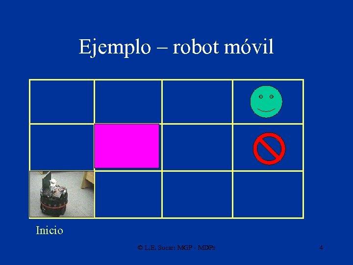 Ejemplo – robot móvil Inicio © L. E. Sucar: MGP - MDPs 4