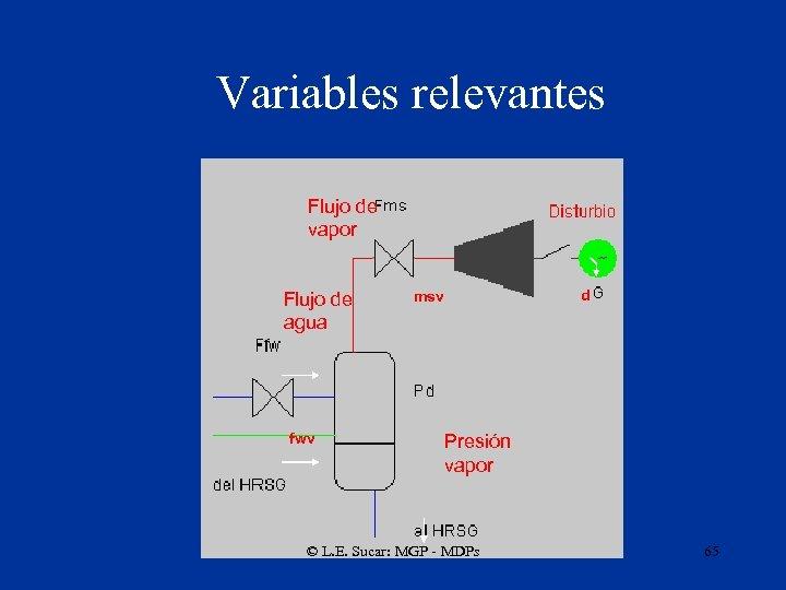 Variables relevantes Flujo de vapor Flujo de agua fwv d msv Presión vapor ©