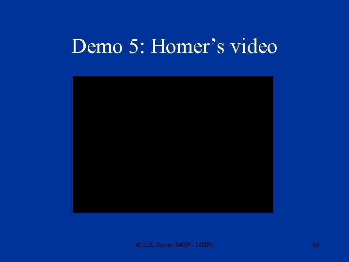 Demo 5: Homer's video © L. E. Sucar: MGP - MDPs 86