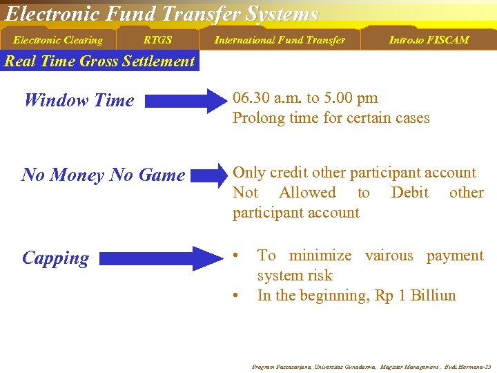 Electronic Fund Transfer Systems Electronic Clearing RTGS International Fund Transfer Intro. to FISCAM Real