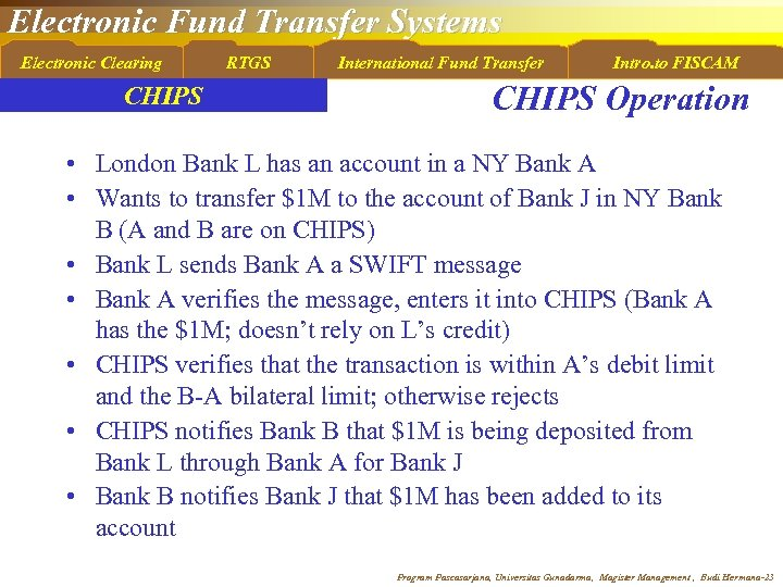 Electronic Fund Transfer Systems Electronic Clearing CHIPS RTGS International Fund Transfer Intro. to FISCAM